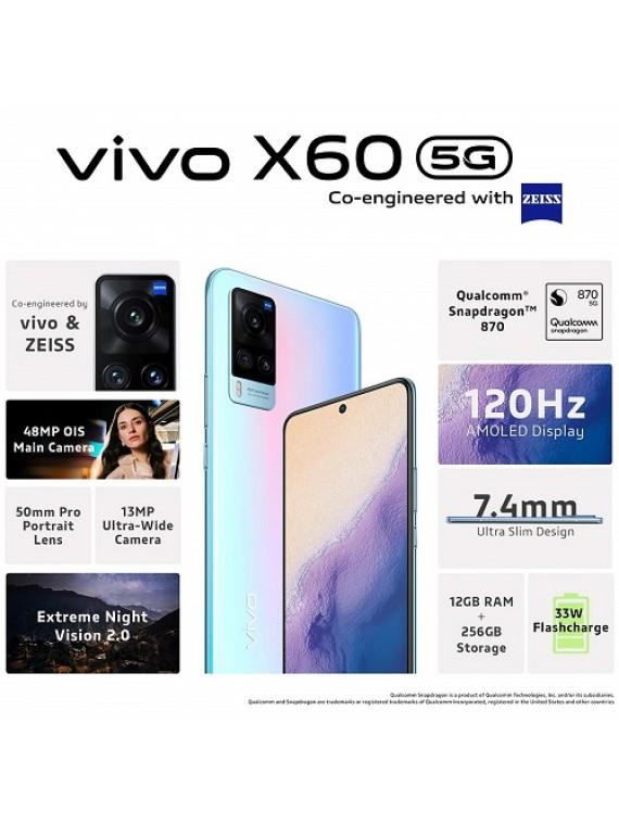 Vivo X60 Shimmer Blue, 8GB RAM, 128GB Storage
