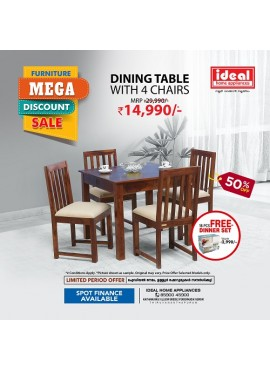 Engineered Wood Dining Table With 4 Chairs