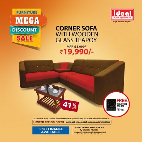 Engineered Wood Corner Sofa With Wooden Glass Teapoy