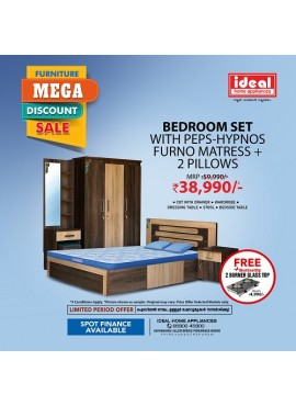 Bedroom Set With PEPS-HYPNOS Furno Matress + 2 Pillows