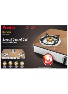 Preethi Glass Top - Blaze Bronze 3 Burner Glass Top Gas Stove