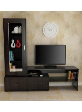 TV Unit with Display Case in Wenge FinishTV Unit
